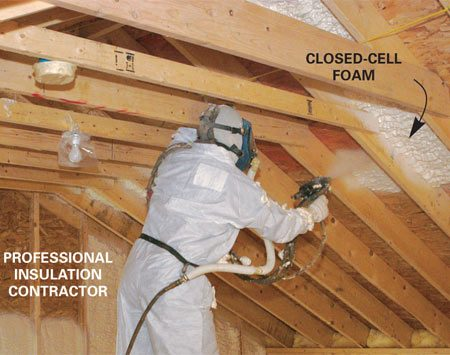 <b>Foaming a vaulted ceiling</b></br> Pros spray foaming agents into open spaces. The materials expand and harden in place, forming the insulation layer.