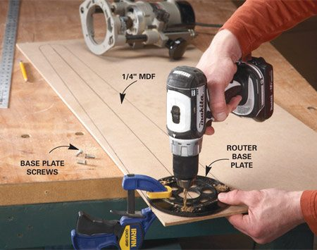 <b>Photo 1: Lay out the trammel</b></br> Draw the sides and ends of the trammel. Trace around the base plate and drill holes for the mounting screws.
