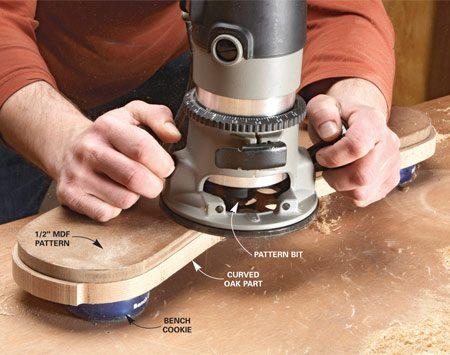 <b>Photo 1A: Close-up of pattern bit</b></br> A pattern bit has the bearing mounted on top to follow a pre-cut pattern.