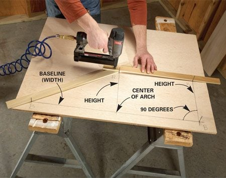 <b>Photo 1: Arch drawing set-up</b></br> Set up for arch drawing with two sticks. Drive nails at the ends of the baseline and at the height of the arch. Lay one stick across two height nails and lay the other from the center height to the end of the baseline. Connect the sticks with short pins or hot-melt glue.