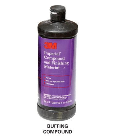 <b>Photo 8A: Close-up of buffing compound</b></br> Buffing compound produces a silky smooth finish.