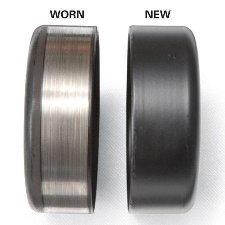 <b>Idler rollers</b><br/>Examine idler rollers for wear patterns. If you see wear, they're not spinning freely.