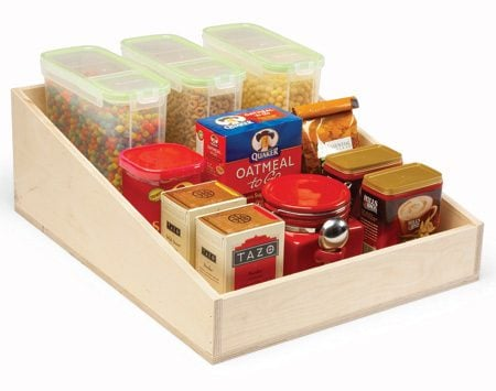 <b>Sloping sides</b></br> Rollout drawers with sloping sides keep tall things stable yet still let you see all the way to the back of the shelf. These are good for nesting pots and pans or storing different-size items on the same shelf.