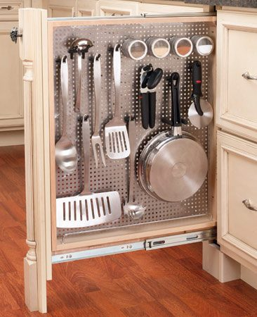 <b>Narrow roll-out</b></br> In a small kitchen with little storage space, you can make even narrow filler spaces work harder by installing a vertical pegboard rollout. Shown is the 434 Series 6-in. Base Filler with stainless steel panel, about $315, from <a href='http://www.Rev-A-Shelf.com' target='_blank'>Rev-A-Shelf.com</a>.