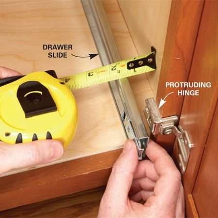 <b>Protruding hinge</b></br> Make sure sides don't collide with hinges or adjacent doors.