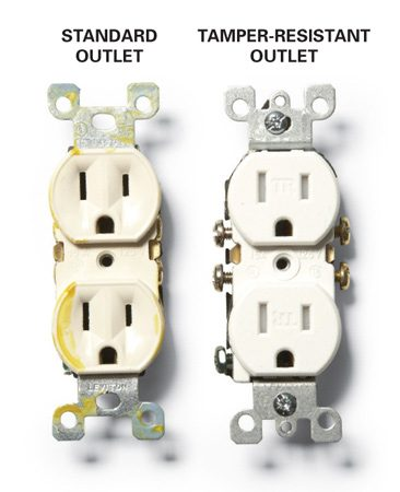 <b>Standard and tamper-resistant outlets</b></br> The interior cover on a tamper-resistant outlet opens only when two plug prongs push on it simultaneously.