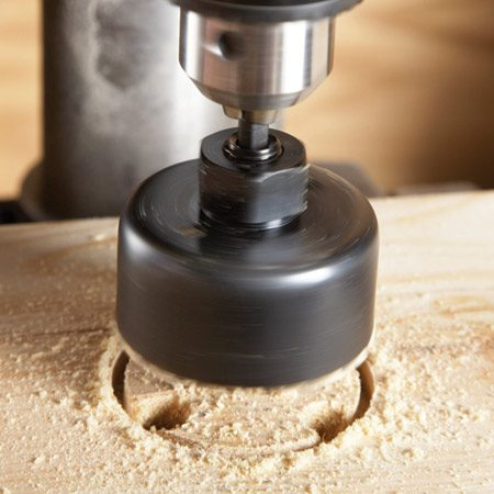 <b>Photo 1: Holes in wood</b></br> The best way to cut holes faster is to drill relief holes to exhaust wood chips and keep the blade cooler.