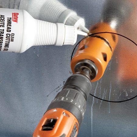 <b>Photo 2: Holes in metal</b></br> In metal, always use bimetal hole saws and keep the teeth sharper longer by using lubricating oil.