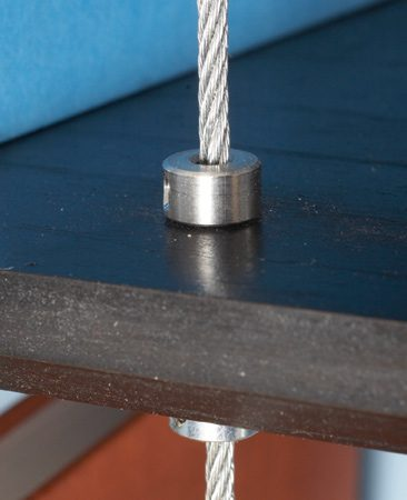 Stop collar and cable on shelf top