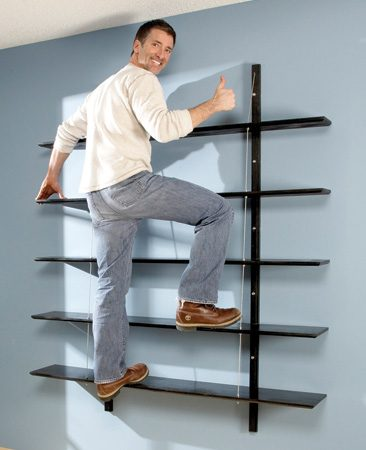 Homeowner standing on shelves