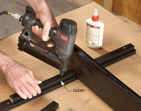 <b>Photo 3: Assemble the shelves</b></br> Add a cleat under the shelf and nail it in. Then add another shelf and tack it to the cleat. Continue like this until you get to the bottom. Now do the same thing on the other side.