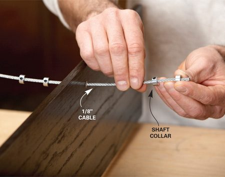 <b>Photo 4: Thread the cable</b></br> Start at the bottom shelf and run the cable through the collars and shelves. Add two collars between each pair of shelves. At the top, thread the cable through the angled hole.