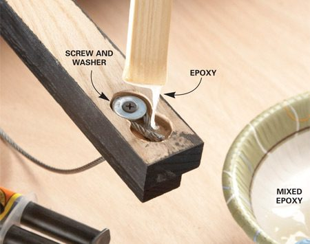 <b>Photo 6: Anchor the cable with epoxy</b></br> Loop the cable in the recess and hold it down with a washer and screw. Then mix five-minute epoxy and fill the recess with it.
