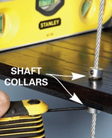 <b>Photo 8A: Close-up of collars</b></br> Tighten the collars to keep the shelf rigid.
