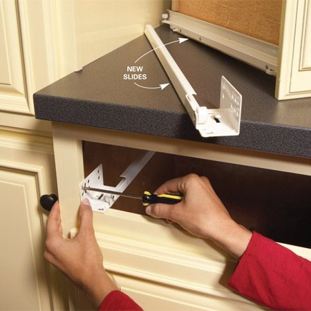<b>Problem drawer fix</b></br> Lubricants won't fix damaged drawer slides. They have to be replaced. This is a common problem on silverware drawers and other drawers that carry a lot of weight. Buy new slides that are the same, or nearly the same, as your old ones. Then it's just a matter of swapping them out. You'll find a limited selection of drawer slides at home centers, but there are dozens of online sources. These sites also sell the plastic mounting sockets that attach to the back of the cabinet to hold the slides in place.