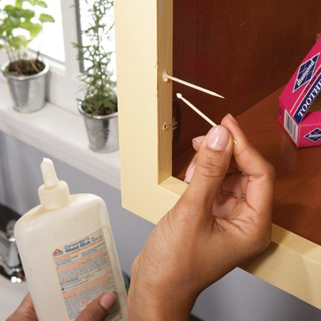 <b>Floppy hinge fix</b></br> When the screws in your hinges or drawer slides turn but don't tighten, the screw hole is stripped. That can prevent doors and drawers from closing properly. Fix the problem with glue and toothpicks. Start by removing the hardware. Then apply a drop of wood glue to the ends of toothpicks and cram as many as will fit into the hole (maybe only two or three). Wipe away any glue that drips out. Let the glue dry, then use a utility knife to cut the toothpicks flush with the cabinet or drawer. Reinstall the hardware, driving the screw through the filled hole.