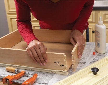 <b>Drawer box fix</b></br> <p>Some drawers are held together by only a few drops of glue or short brad nails. When you first notice a drawer corner coming apart, take out the drawer and fix it. And if one corner is failing, others probably will too. Save yourself future hassles by repairing all the weak corners now. Place a piece of scrap wood against a corner and lightly rap it once with a hammer. If the corner comes apart, fix it. If not, it should hold up.</p>  <p>To fix the corner, first remove the drawer front, if possible. Most fronts are attached by screws driven from inside the drawer. Remove any fasteners from the corner, then scrape away the old glue with a utility knife. Reglue the corner, tap the sides back together and clamp the drawer until the glue dries.</p>