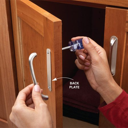 <b>Instead of refinishing, hide problem spots</b></br> Years of opening doors and drawers can wear away the finish near cabinet knobs. Instead of undertaking the time-consuming task of refinishing the cabinets, try this quick fix: Install back plates under the knobs or handles. Simply unscrew the knob or handle, slide the back plate under it, then reattach the knob or handle.