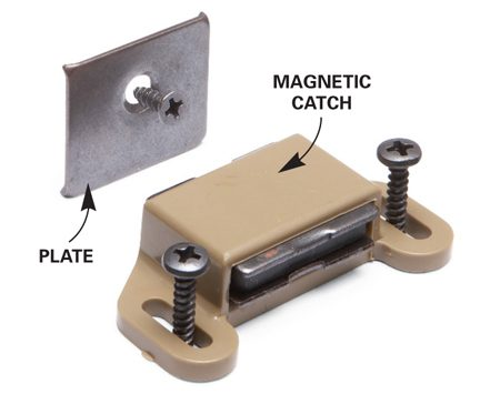<b>Warped door fix</b></br> Sure, this trick is as old as Benny Hill jokes, but it still works. When your cabinet door is warped and won't fully close, simply install a magnetic catch (sold at home centers) at the problem area. Screw the magnetic catch to the cabinet rail or stile and the plate to the door. The magnet pulls the door closed.