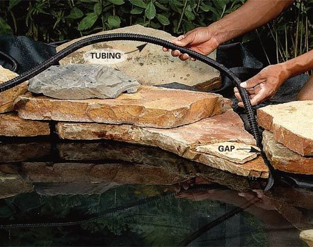 <b>Locate pump, then hide tubing</b></br> Leave a gap between stones and make sure the tubing can slide through. Do the same for the pump's power cord so you can remove or replace the pump without moving stones.