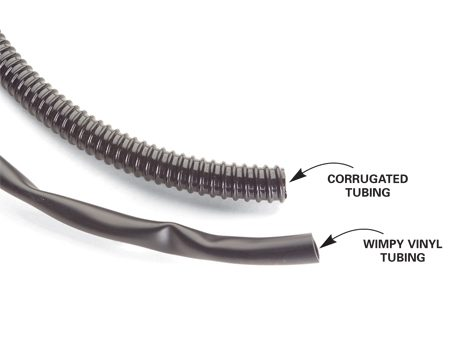 <b>Tubing options</b></br> Beefy corrugated tubing won't get kinked or crushed and is well worth the extra few bucks you'll pay for it.