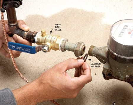 <b>Photo 2: Install the new valve</b></br> Screw on the new ball valve, install the old nipple and the new leather washer (use Teflon tape or pipe dope on the threads). Tighten the coupling nut, turn on the water and check for leaks.