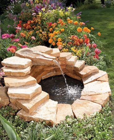 <b>Fountain</b></br> Create a pond, then cap it with a waterfall made from a hand-carved stone.