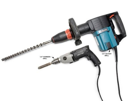 <b>Hammer drill vs. rotary drill</b></br> Use a hammer drill for smaller jobs like anchoring bolts in walls. Use the rotary drill for bigger jobs like drilling holes through thick concrete foundations.