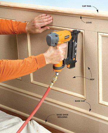 <b>Mix and match</b></br> <p>Here's one of my favorite tricks for painted trim,  cabinets or even furniture:   Use MDF for the large, plain parts and dress them up  with wood moldings like   base cap, coves or base shoe. That gives you the money  savings of MDF without   the time-consuming work of making MDF trim from  scratch. The wainscoting   shown here, for example, is simply panels and strips  of 1/2-in. MDF   trimmed with inexpensive, small-profile pine moldings.  The   cap rail is likely to take a beating from chairs, so I  make that from wood instead   of MDF. Once coated with primer and paint, the wood  and MDF parts will look   exactly the same. </p>
