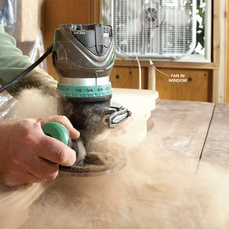 <b>Wear a good mask</b></br> <p>There's one thing you'll really hate about MDF: the  fine, powdery dust that   invades your clothes, hangs in the air for hours and clings  to every surface like   a coat of frost. Cutting MDF is a dusty job, but  routing it is even worse.</p> <p>Whenever possible, I cut and rout MDF outside. When  that's not possible, I   drape sheets of plastic over shelving and other  hard-to-clean areas in my shop   and use a fan to blow dust outside. When installing  trim in a room, cover doorways,   close air vents and expect to vacuum every surface  when you're done,   even the walls. Clean your vacuum filter often—the  fine dust plugs filters quickly. And a tight-fitting dust mask is  essential.</p>