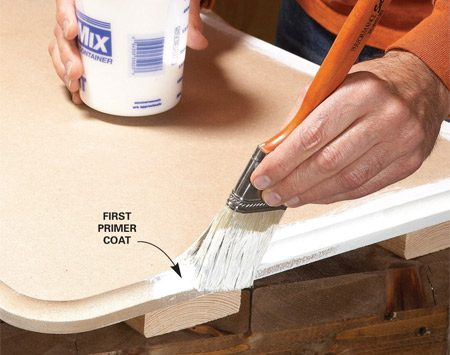 """<b>Use solvent-based primer</b></br> <p>The face of MDF is smooth, but the   edges are fuzzy like the skin of a   peach. If you just slap paint on the   fuzz, it will look and feel like sandpaper.   So you have to get rid of the   peach fuzz before you paint. I have   two recipes for smooth edges: one for   """"good-enough"""" edges and the other for   edges that will get a high-gloss finish.</p> <p>Here's the good-enough process I   apply to most projects, including   trim: First, lightly sand the edges with   100-grit paper. Foam-backed sanding   pads work great on routed profiles.   Then prime the MDF. Use a solvent-based   primer only. Water-based   primer can raise small blisters. My   favorite MDF primers are KILZ and   Cover Stain because they're easy to   sand. When the primer dries, sand off   the fuzz with 100-grit pads. A couple   of light passes is all it takes. You can   sand KILZ or Cover Stain after a couple   of hours, but let the primer dry overnight for  smoother results. After   sanding, wipe away the powdery dust   with a damp cloth and you're ready to   paint. </p>"""