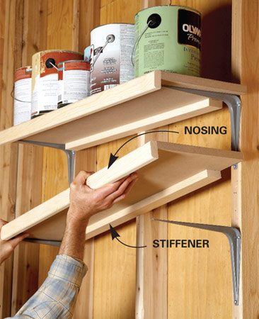 <b>Guard against sagging</b></br> <p>MDF is commonly used for shelving   in closets and cabinets because it's   inexpensive and smooth. But MDF   isn't as stiff as plywood and will sag   over time. So when I use MDF shelving   for heavy loads, I simply beef it   up with wood. First, I rip a 1x4 right   down the middle to get two strips   about 1-5/8 in. wide. I glue one strip   flat against the underside of the shelf   to stiffen the back edge. Then I glue   the other strip (nosing) to the front   edge. The MDF edge will absorb a lot   of glue, so spread on a light coat, give   it a minute to soak in, and apply   another bead before you add the   wood nosing. </p>