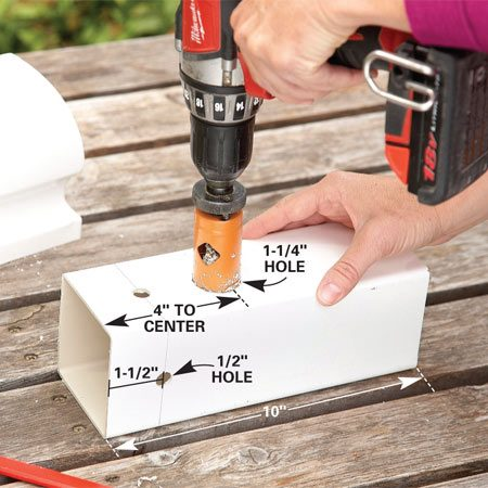 <b>Photo 1: Prepare the house</b></br> Cut 10-in. lengths with a hacksaw or miter saw. Then drill the ventilation and entrance holes. Sand off the sharp edges on the entrance hole with 60-grit sandpaper.