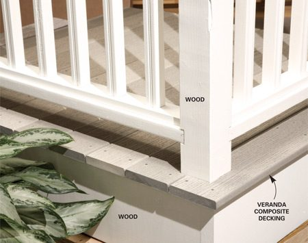 <b>Composite decking, wood railing</b></br> Installing a wood rather than composite railing reduces deck costs.