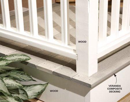 <b>Composite decking, wood railing</b></br> Installing a wood rather than composite railing reduces deck costs.