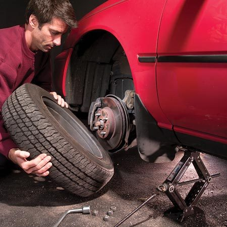 <b>Changing a flat</b></br> Changing a flat is not difficult, but make sure you're well off the road and protected from traffic.