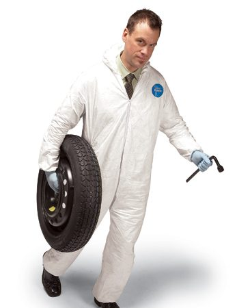 <b>Disposable overalls</b><br/>Keep them in your car and protect your good clothing.
