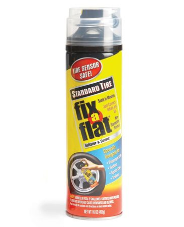 <b>Flat tire fix</b><br/>This is a great temporary solution to get you to the next service station.