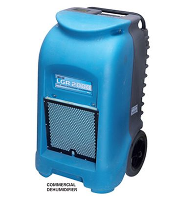 <b>Dehumidifier</b></br> A large commercial dehumidifier will remove much more water from the air than home dehumidifiers.