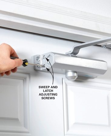 "<b>Installation and adjustment</b></br> Rotate the ""sweep"" adjuster to slow the closing speed to about five seconds (it will prevent the door from bumping you in the rear as you exit). Then turn the ""latch"" adjuster to get a quick, one-second final swing to latch the door."
