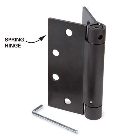 <b>Spring hinges</b></br> Spring hinges are a little cheaper, but can be a pain to install and adjust.