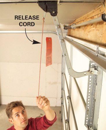 Garage door opener release cord