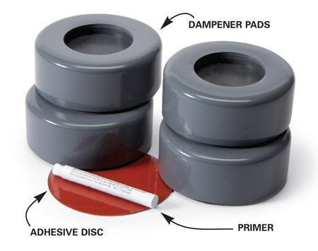 <b>Installation procedure</b></br> Clean the floor under the pads. Then stick the adhesive discs to the floor. Apply the primer to the pads and press them onto the discs. Lift the washer back into place, locating the feet in the pad recesses.
