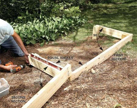 <b>Photo 6: Add the end joists</b></br> Install the end joists, estimating their placement to achieve equal angles with the side rims. Mark and dig the footings. Then set each post and end joist.
