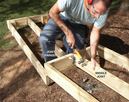 <b>Photo 8: Add center joists</b></br> Support the middle joists with joist hangers after centering and tacking them into place.