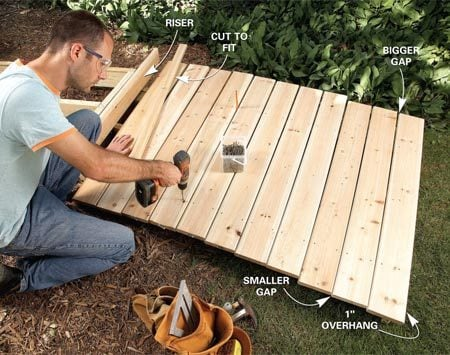 <b>Photo 9: Add the decking</b></br> Space the decking, tapering the gap as needed, then screw the boards to the joists.