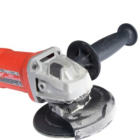 <b>Close-up of disc grinder </b></br> A disc grinder makes sculpting and shaping wood much easier.