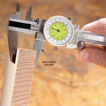 <b>Slide caliper in action</b></br> A slide caliper is Tim's favorite tool for accurately measuring board thicknesses, inside widths of miters and depths of stopped holes.