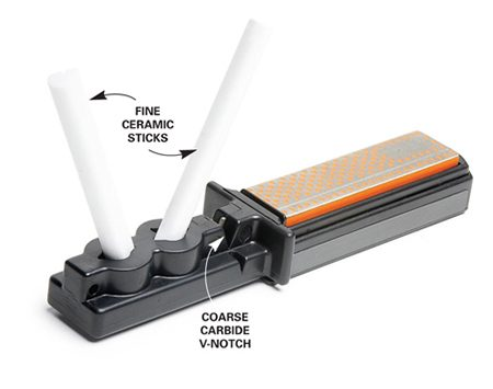 <b>Photo 1: A stick sharpener</b><br/>A carbide V-notch and ceramic sticks do the primary sharpening.