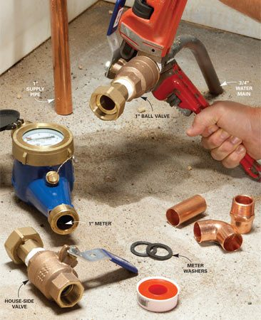<b>Upsize the valves and pipe</b></br> Upsize the valves and first 15-ft. of pipe. Install two full-port 1-in. ball valves (with drains) on each side of the new meter. Replace the first 15 ft. of pipe leading from the meter with 1-in. pipe.